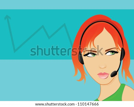 Telemarketing Operator Business Woman Talking on a hands free headset/Fully Editable Vector Illustration - stock vector