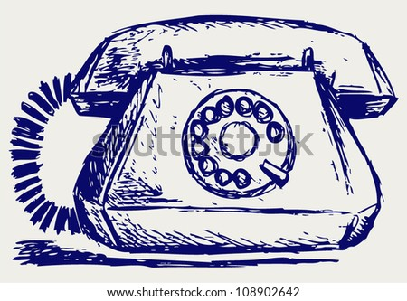 Telephon with rotary dial - stock vector