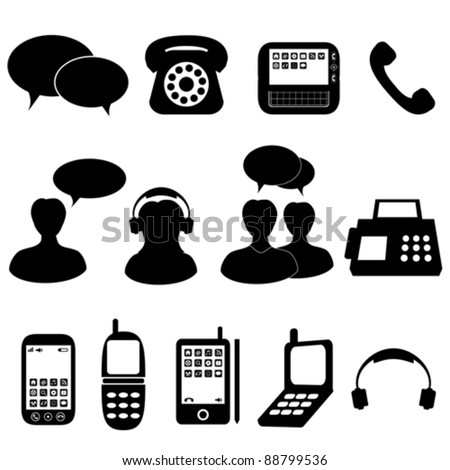 Telephone and communication icons and symbols - stock vector