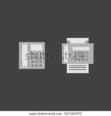 Telephone and fax vector flat icons in eps - stock vector