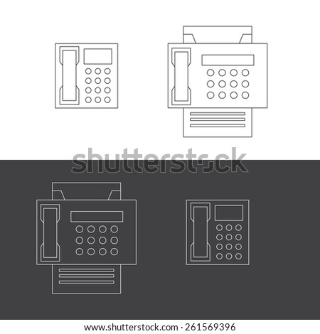 Telephone and fax vector icons in eps - stock vector