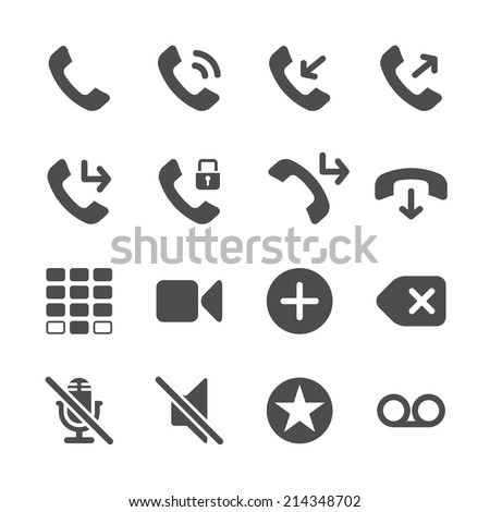 telephone application icon set, vector eps10. - stock vector