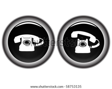 telephone black icons against white background, abstract vector art illustration - stock vector
