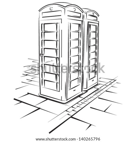 Telephone booths of London - vector lineart illustration - stock vector