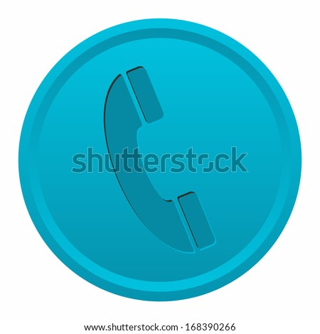 Telephone (engraved button, blue version) - stock vector