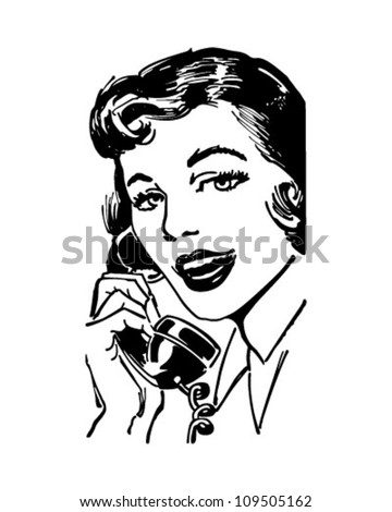 Telephone Gal - Retro Clipart Illustration - stock vector