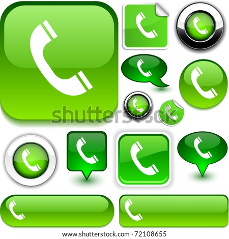 Telephone green signs. - stock vector