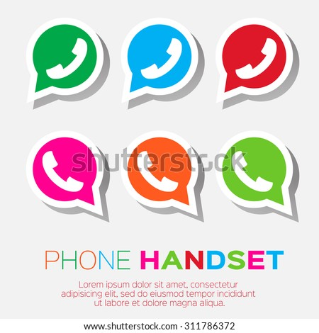 Telephone handset in speech bubble vector icon - colorful version. - stock vector