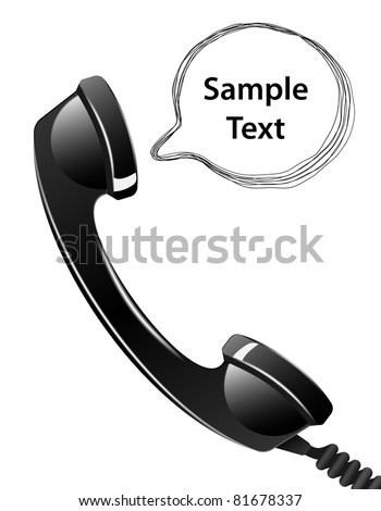 Telephone handset with talk bubble isolated on the white background. Vector - stock vector