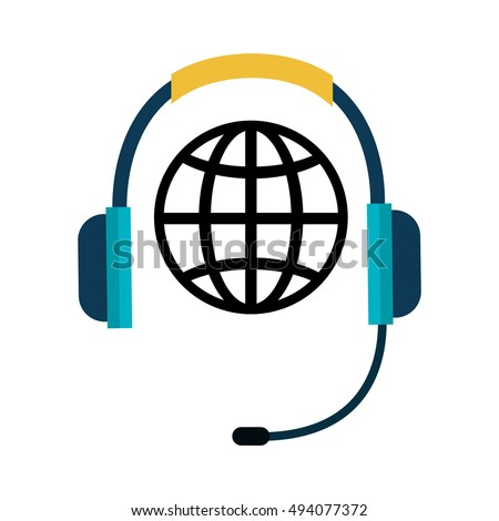 telephone headset and global sphere icon