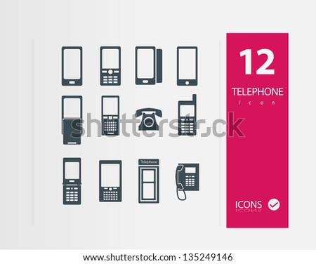 Telephone icon (Set of Quality icons ) - stock vector