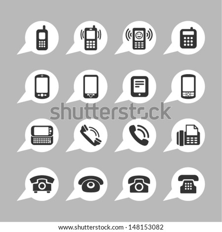Telephone icons for app - stock vector