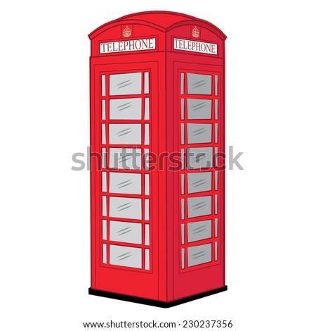 TELEPHONE, LONDON CALL BOX illustration vector - stock vector