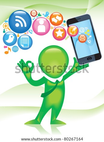 TELEPHONE-man.Social-Media.The development of global communications - stock vector