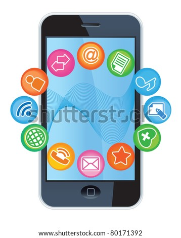 TELEPHONE-MEDIA.Social-Media.The development of global communications - stock vector