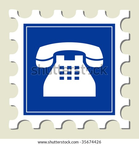 Telephone Sign Stamp - stock vector