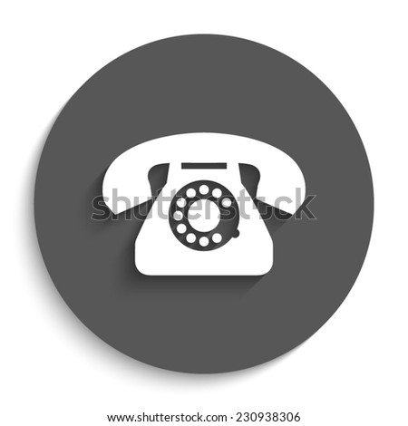 telephone - vector icon with shadow on a round grey button - stock vector