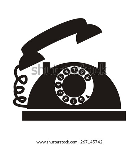 telephone with numbers, black silhouette - stock vector