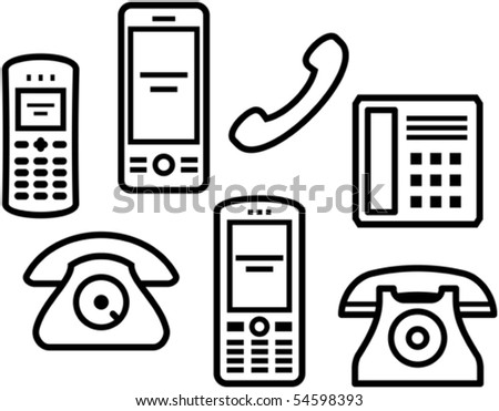 Telephones, mobile phones â?? Vector illustration - stock vector