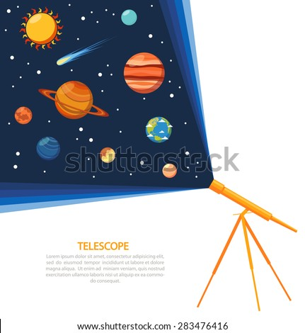 Telescope with solar system comets and stars concept poster flat vector illustration  - stock vector