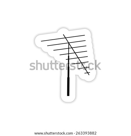 Television antenna on a white background with shadow - stock vector