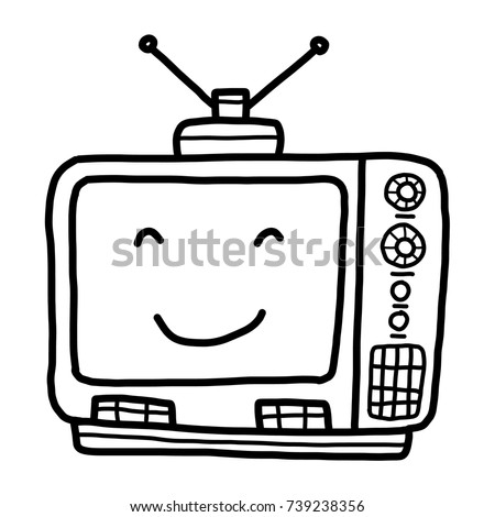 tv clipart black and white. television cartoon / vector and illustration, black white, hand drawn, sketch style tv clipart white