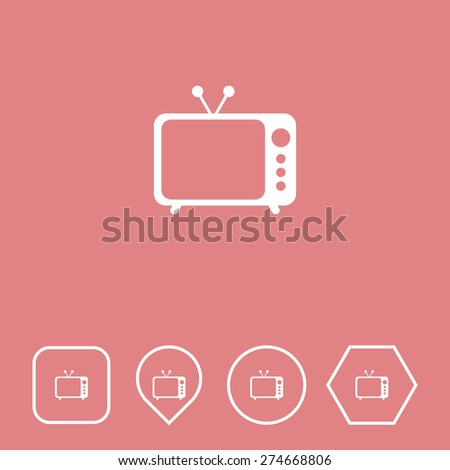 Television Icon on Flat UI Colors with Different Shapes. Eps-10. - stock vector
