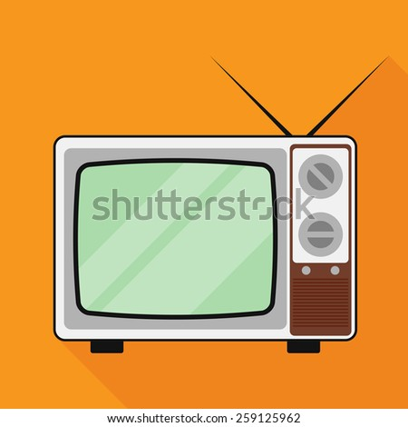 television icon with long shadow. flat style vector illustration