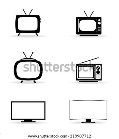 TElevision icons set vector - stock vector