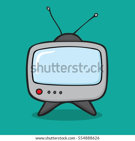 Television In Cartoon Free Style Hand Drawn Illustration Vector Isolated
