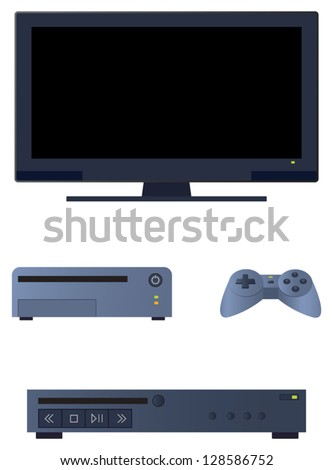 Television related electronic devices commonly found in a living room entertainment center. - stock vector