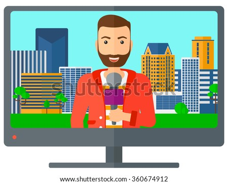 Television set broadcasting interview. - stock vector