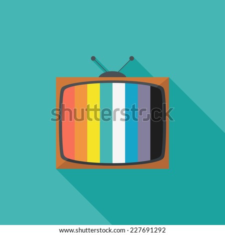 Television set  flat icon. Modern flat icons with long shadow effect in stylish colors. Icons for Web and Mobile Application. EPS 10. - stock vector
