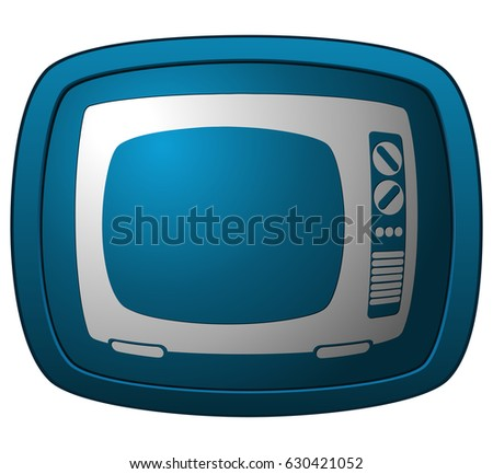 Television Set Icon on a Blue Glossy Plate Sign, Vector Illustration.