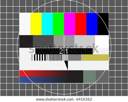 television test screen with pixelated sample numbers - stock vector