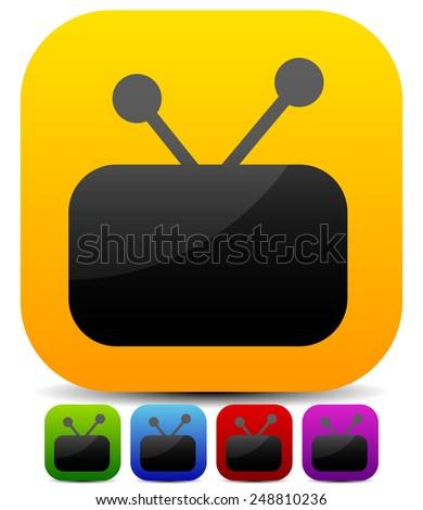 Television / TV icon set - stock vector