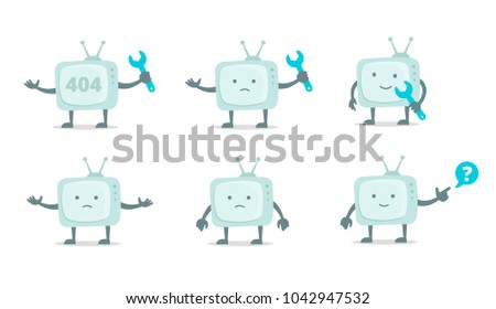 Televisor character with face, legs and hands. Repair set. Telly television fixing with wrench set 404 character set with wrench spanner repairs. Color vector illustration stock.