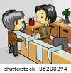 Teller Service - stock vector