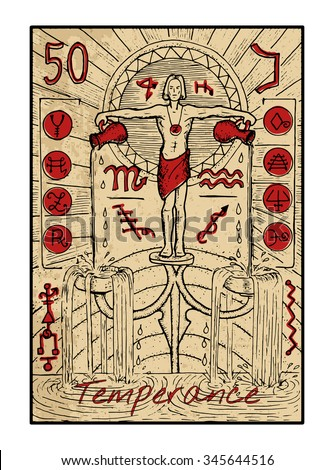 Temperance.  The major arcana tarot card in color, vintage hand drawn engraved illustration with mystic symbols. Water bearer or young man pouring water from two jars. Aquarius.
