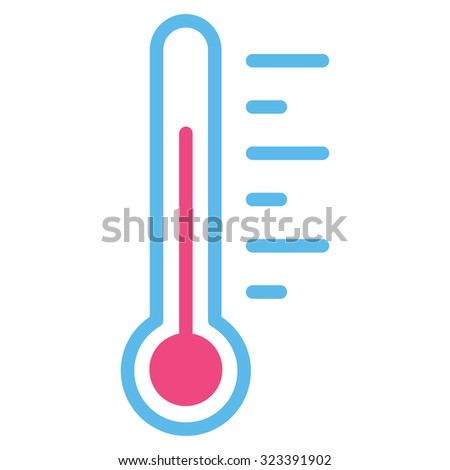 Temperature Level vector icon. Style is bicolor flat symbol, pink and blue colors, rounded angles, white background.