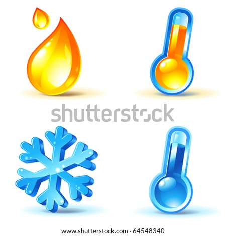 temperature or climate control icons : heating and cooling - stock vector