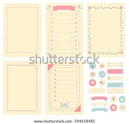Template And Frame For Notebook Paper, Diary, Scrapbook And Card. Decorated  With Flower  Diary Paper Template