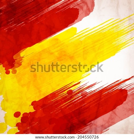 Template background. Spanish flag made of colorful splashes