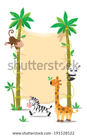 Template background with banner on two high palm tree and small funny monkey, panda and zebra. Children vector illustration