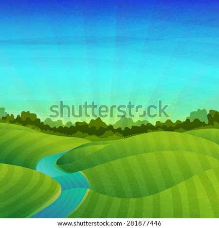 Template banner design, posters. Landscape with fields, meadows, river, sunrise and forest. Vector. Place for your text. - stock vector