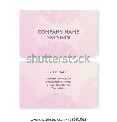 Template business card wedding salon layout stock vector 789581062 template business card for wedding salon layout for print vector illustration pink and reheart Images