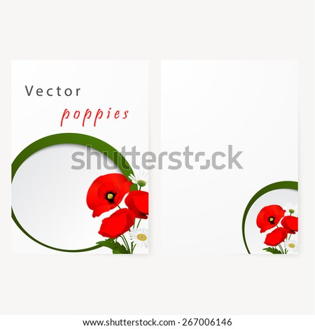 Template card for greeting, invitation, wedding, birthday, Easter with chamomile and red flowers poppies - stock vector