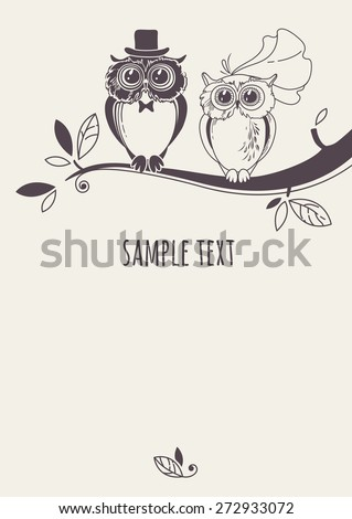 Template card owls on tree branch stock vector 272933072 template card with owls on a tree branch greeting card drawing owl couple stopboris Choice Image