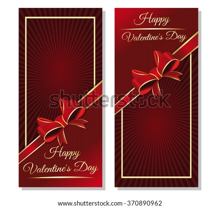 Template cards for Valentine's Day with a ribbon, bow and greeting inscription. Greeting inscription - Happy Valentine's Day. Dark red vector valentines background. - stock vector
