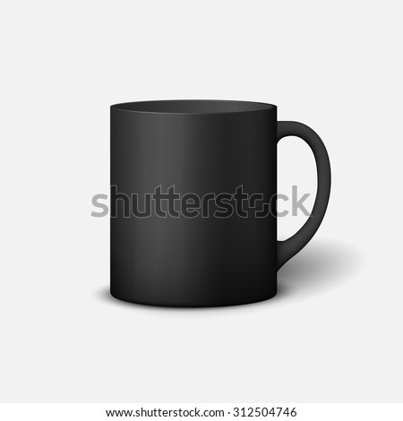 Template ceramic clean black mug with a matte effect, without the bright glare, isolated on a white background - stock vector